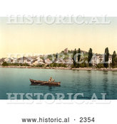 Historical Photochrom of a Boat on Geneva Lake at Clarens by Al