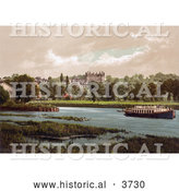 Historical Photochrom of a Boat on the Thames River near the Star and Garter Hotel Richmond London England UK by Al