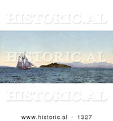 Historical Photochrom of a Boat Sailing near Alcatraz Island on the Golden Gate, San Francisco, California by Al