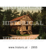 Historical Photochrom of a Building in a Forest, Stabur Bygdo, Norway by Al