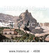 Historical Photochrom of a Building near Mt. Surlon and Lake, Tyrol, Austria by Al