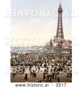Historical Photochrom of a Busy Beach, North Pier and Royal Hotel near the Tower in Blackpool, Lancashire, England by Al