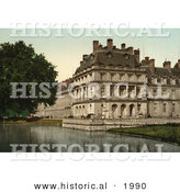 Historical Photochrom of a Carp Pond at Fontainebleau Palace, France by Al