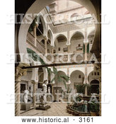 Historical Photochrom of a Courtyard with Trees, Statues and Fountains, Algiers, Algeria by Al