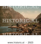 Historical Photochrom of a Cow and Village, Gudvangen, Sognefjord, Norway by Al