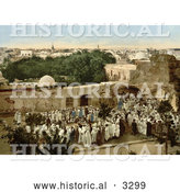 Historical Photochrom of a Crowd Watching a Snake Charmer in Tunis, Tunisia by Al