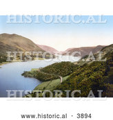 Historical Photochrom of a Deserted Waterfront Road Winding Around the Banks of the Thirlmere Reservoir near Helvellyn Mountain in Lake District Cumbria England UK by Al