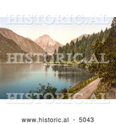 Historical Photochrom of a Dirt Road and Forest on the Shore Plansee Lake in Tyrol, Austria by Al