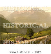 Historical Photochrom of a Dirt Road and Houses by Mountains, Switzerland by Al