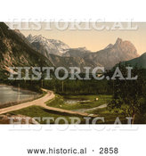 Historical Photochrom of a Dirt Road and Orchard, Romsdalen, Norway by Al