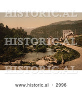 Historical Photochrom of a Dirt Road Leading to a Hotel, Norway by Al