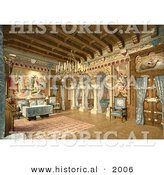 Historical Photochrom of a Drawing Room in Neuschwanstein Castle by Al