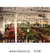 Historical Photochrom of a First Class Dining Area by Al