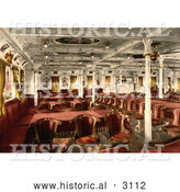 Historical Photochrom of a First Class Dining Room by Al