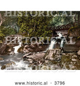 Historical Photochrom of a Footbridge Spanning the Upper Falls Waterfalls in Glen Lyn Gorge in Lynton and Lynmouth Devon England UK by Al