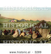 Historical Photochrom of a Group of Arabian Wanderers near Their Tent in Tunis, Tunisia by Al