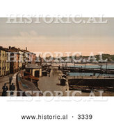 Historical Photochrom of a Harbor, Donostia-San Sebastian on the Bay of Biscay, Spain by Al