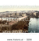 Historical Photochrom of a Harbor in Algiers, Algeria by Al