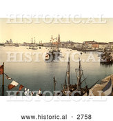 Historical Photochrom of a Harbor in Venice by Al