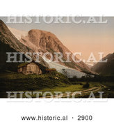 Historical Photochrom of a Home by a Glacier, Sognefjord, Norway by Al