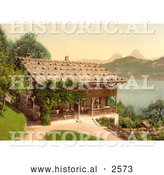 Historical Photochrom of a Home on Lake Lucerne in Rutli Meadow by Al