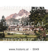 Historical Photochrom of a Hotel Building near Schluderbach and Croda Pass, Croda Rosa, Dolomites, Tyrol, Austria by Al