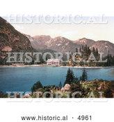 Historical Photochrom of a Hotel Building on Wildsee Lake, Pragser, Tyrol, Austria by Al