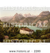 Historical Photochrom of a Hotel near Lake Lucerne, Switzerland by Al