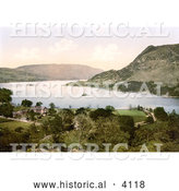 Historical Photochrom of a Hotel on Ullswater Lake in Patterdale Lake District England UK by Al