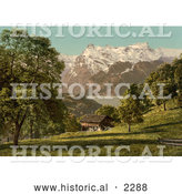 Historical Photochrom of a House near Lake Lucerne, Switzerland by Al