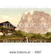 Historical Photochrom of a House near Wetterhorn Mountain by Al