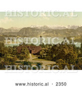Historical Photochrom of a House on Lake Lucerne, Swiss Alps in the Background by Al