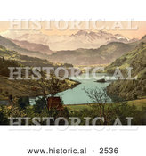 Historical Photochrom of a House on Lake, Lungern, Switzerland by Al