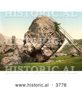 Historical Photochrom of a Ladder Leading up to the Top of the Large Bowder Stone in Borrowdale Keswick Lake District Cumbria England UK by Al