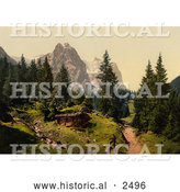 Historical Photochrom of a Man and Well House near Wetterhorn Mountains by Al