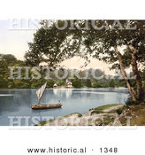 Historical Photochrom of a Man in a Sailboat on the Dart River near the Sharpham Vineyard Estate in Darmouth Devon England by Al