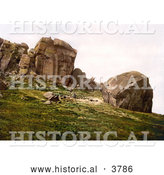 Historical Photochrom of a Man Looking down from the Cliff over Two People at Cow and Calf Rocks in Ilkley West Yorkshire England UK by Al