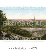 Historical Photochrom of a Man Lying on the Grass and Viewing the City of Salisbury Wiltshire England UK by Al
