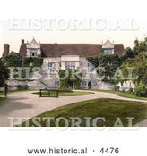 Historical Photochrom of a Man on a Path by a Bench at the Old Archbishop's Palace in Maidstone Kent England United Kingdom by Al