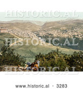 Historical Photochrom of a Man on a Viewpoint Overlooking Zahleh, Lebanon by Al