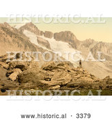Historical Photochrom of a Man on the Furkahorn, Looking at Furka Pass by Al
