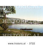 Historical Photochrom of a Man Rowing a Boat by the Docks and Belsfield Hotel in Bowness on Lake Windermere Lake District Cumbria England UK by Al