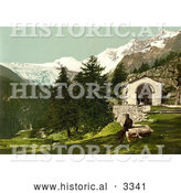 Historical Photochrom of a Man Seated near a Chapel in the Swiss Alps by Al