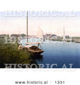 Historical Photochrom of a Man Sitting by a Boat on the River Thurne near the Medieval Bridge in Potter Heigham Norfolk East Anglia England by Al