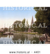 Historical Photochrom of a Man Standing by Boats on the River Wensum in Thorpe St Andrew Norwich East Anglia Norfolk England by Al