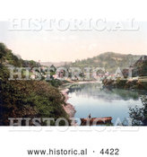 Historical Photochrom of a Man Standing in a Boat on the River Wye in Redbrook Monmouth Wales Monmouthshire Gwent England UK by Al