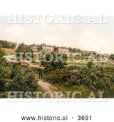 Historical Photochrom of a Man Strolling on a Path in the Commons of Royal Tunbridge Wells Kent England UK by Al