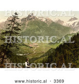Historical Photochrom of a Man Viewing Engelberg Valley by Al