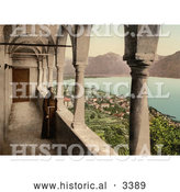 Historical Photochrom of a Monk on a Balcony in Switzerland by Al