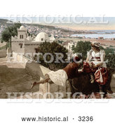 Historical Photochrom of a Moorish Child and Woman on a Terrace, Algeria by Al